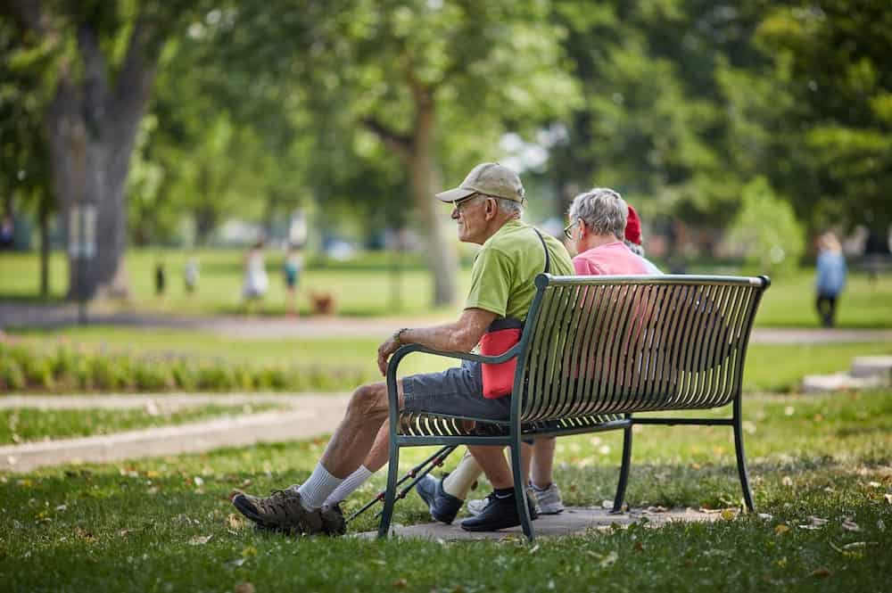 independent living residents on bench