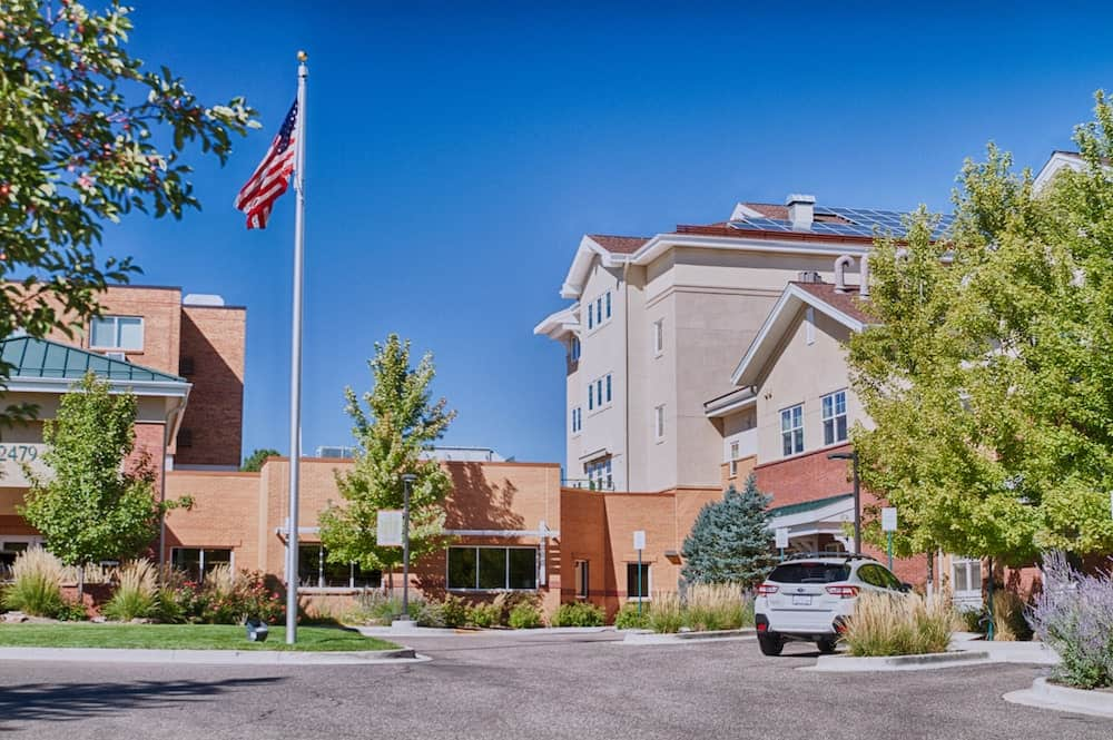 community exterior with american flag